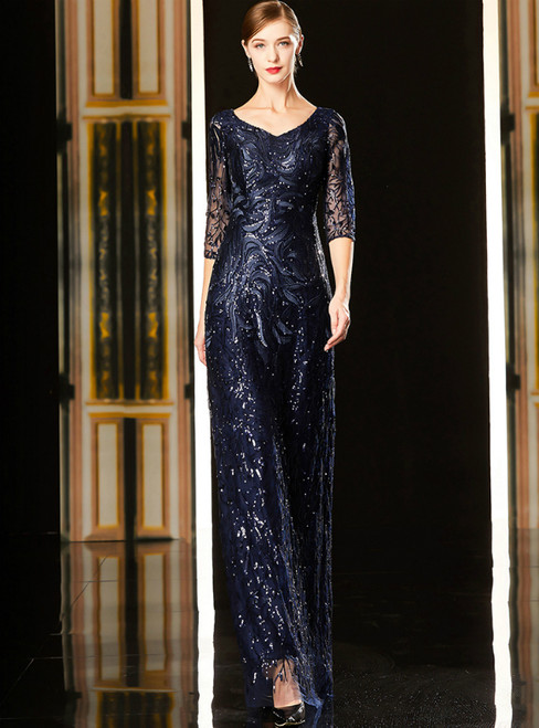 A-Line Navy Blue Tulle Sequins Half Sleeve Mother Of The Bride Dress