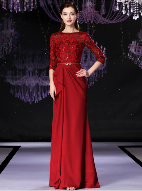 Red Spandex Lace Half Sleeve Long Mother Of The Bride Dress With Beading