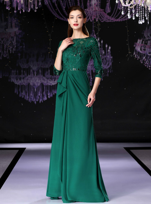 Green Spandex Lace Half Sleeve Long Mother Of The Bride Dress With Beading