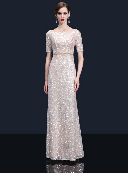 Sheath Champagne Sequins Short Sleeve Bateau Mother Of The Bride Dress
