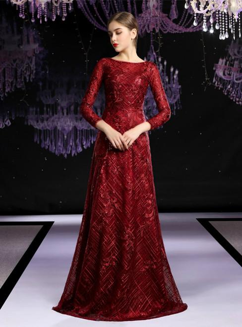 Elegant Burgundy Lace Sequins 3/4 Sleeve Long Mother Of The Bride Dress