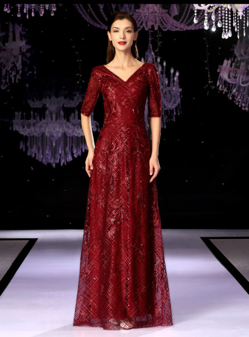 Burgundy Lace Sequins V-neck Short Sleeve Mother Of The Bride Dress