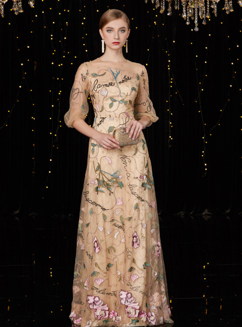 A-Line Champagne Tulle Half Sleeve Embroidery Flower Mother Of The Bride Dress