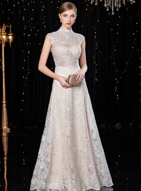 Champagne Tulle Lace High Neck See Through Mother Of The Bride Dress
