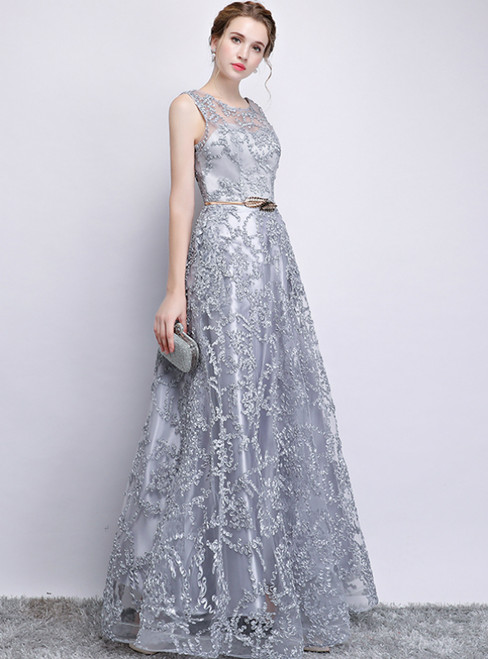 b95744641e4 In Stock Ship in 48 Hours A-Line Gray Lace Scoop Long Prom Dress With  Pocket Sash