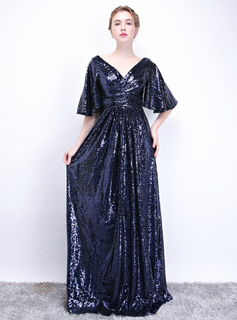In Stock:Ship in 48 Hours Navy Blue Sequins V-neck Prom Dress