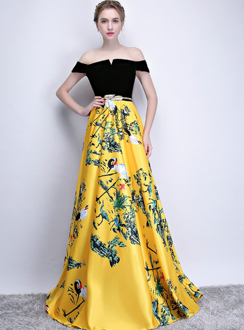 In Stock:Ship in 48 Hours Yellow Black Satin Print Off the Shoulder Prom Dress