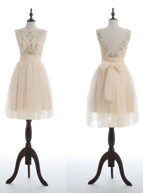 Cheap bridesmaid dresses 2017 champagne homecoming dress  junior homecoming dress