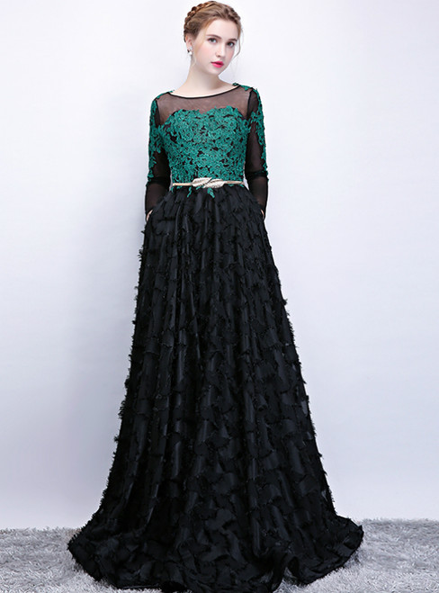 In Stock:Ship in 48 Hours Black Long Sleeve Appliques Prom Dress With Pocket