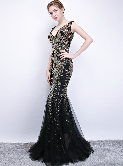 In Stock:Ship in 48 Hours Black Gold Sequins Mermaid V-neck Prom Dress