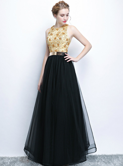 In Stock:Ship in 48 Hours Black Tulle Lace Beading Long Prom Dress