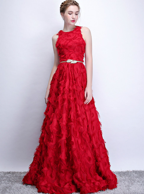 In Stock:Ship in 48 Hours Red Scoop Long Prom Dress With Pocket
