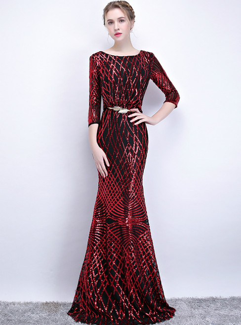 In Stock:Ship in 48 Hours Black Red Mermaid Sequins 3/4 Sleeve Prom Dress