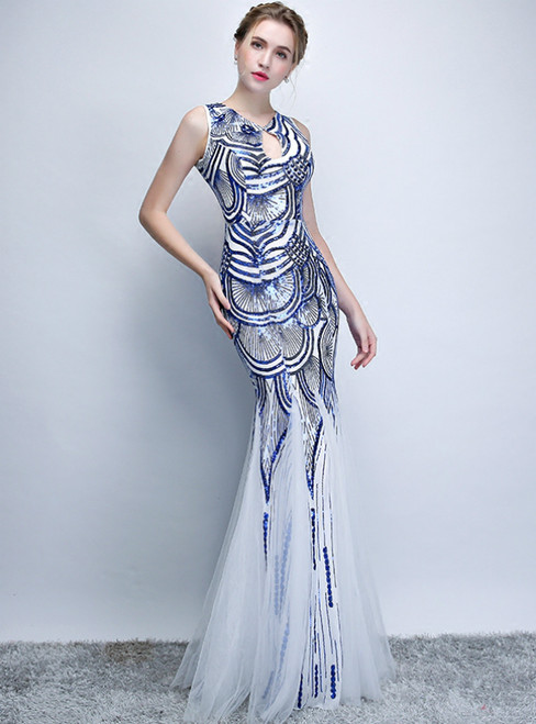 In Stock:Ship in 48 Hours Blue Mermaid Sequins Backless Prom Dress