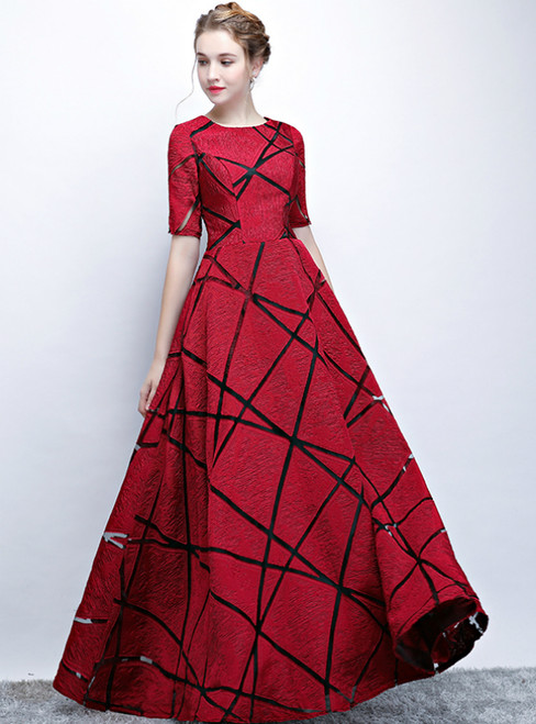 In Stock:Ship in 48 Hours Burgundy Lace Short Sleeve Long Prom Dress