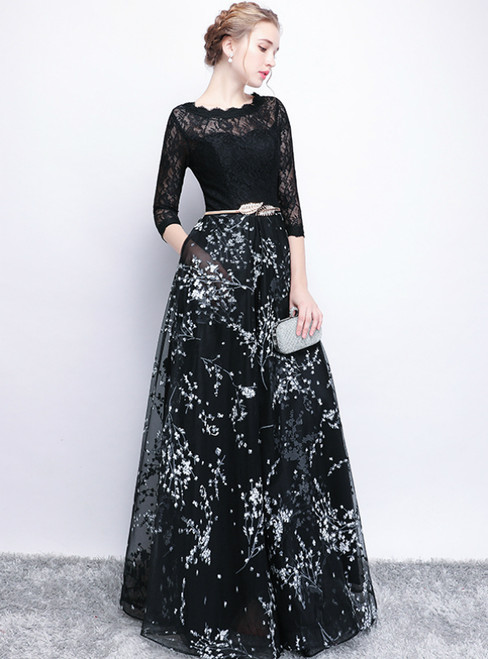 In Stock:Ship in 48 Hours Black Tulle Lace 3/4 Sleeve Prom Dress
