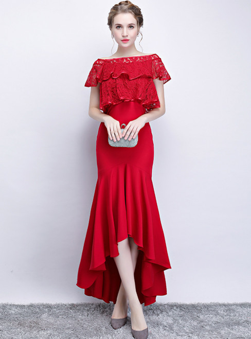 In Stock:Ship in 48 Hours Red Lace Mermaid Hi Lo Prom Dress