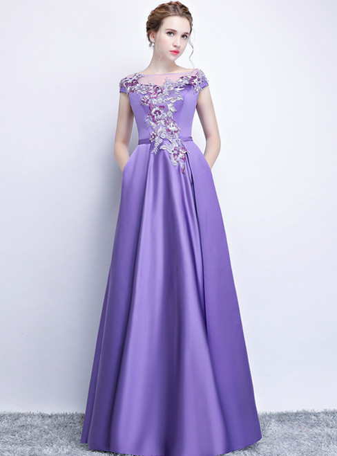 349eb7bb82e8 In Stock:Ship in 48 Hours Purple Satin Appliques Cap Sleeve Prom Dress