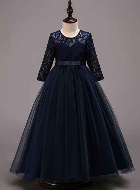 In Stock:Ship in 48 Hours Navy Blue Tulle lace Long Sleeve Girl Dress