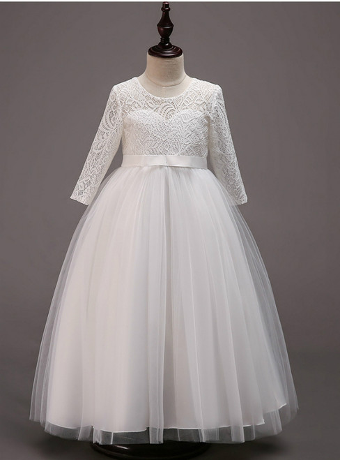 In Stock:Ship in 48 Hours White Tulle lace Long Sleeve Girl Dress