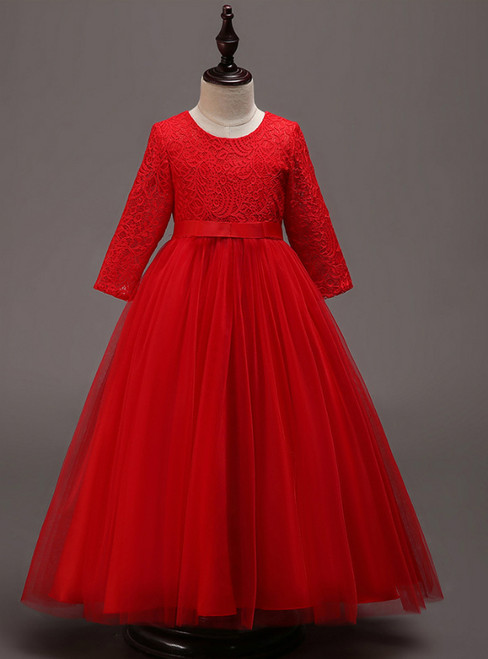 In Stock:Ship in 48 Hours Red Tulle lace Long Sleeve Girl Dress