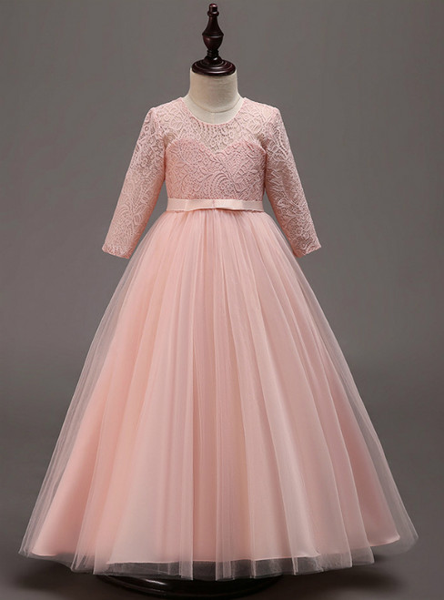 In Stock:Ship in 48 Hours Pink Tulle lace Long Sleeve Girl Dress