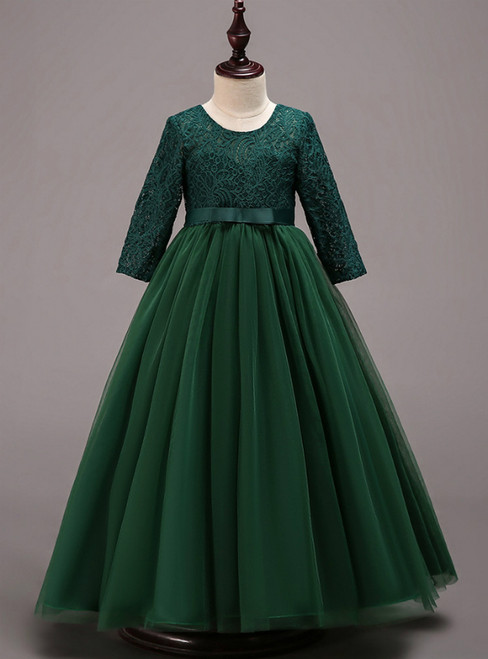 In Stock:Ship in 48 Hours Green Tulle lace Long Sleeve Girl Dress