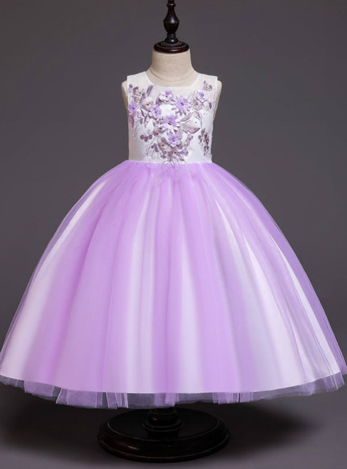 In Stock:Ship in 48 Hours Purple Tulle Appliques Girl Dress With Bow
