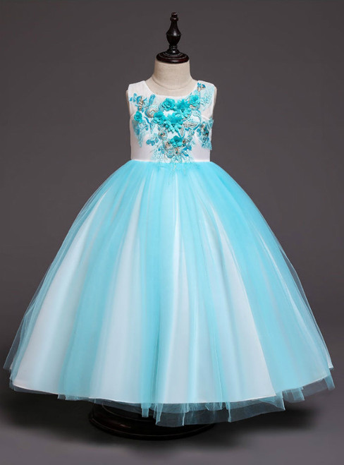 In Stock:Ship in 48 Hours Blue Tulle Appliques Girl Dress With Bow