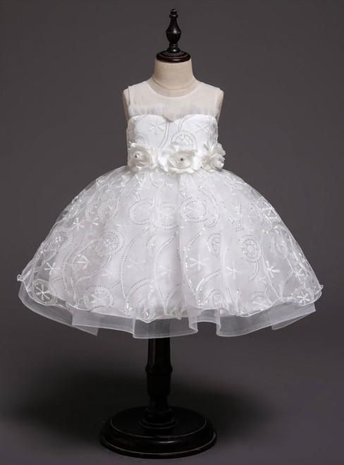 In Stock:Ship in 48 Hours White Sequins Tulle Flower Girl Dress