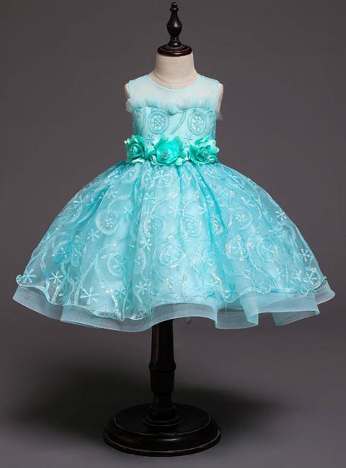 In Stock:Ship in 48 Hours Blue Sequins Tulle Flower Girl Dress