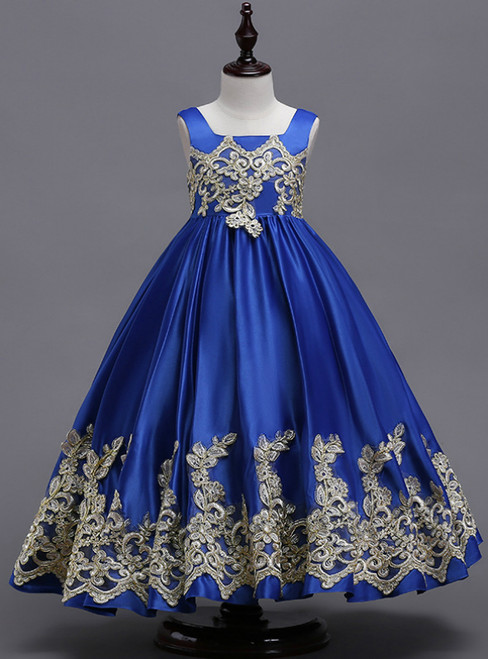 In Stock:Ship in 48 Hours Blue Satin Straps Appliques Girl Dress