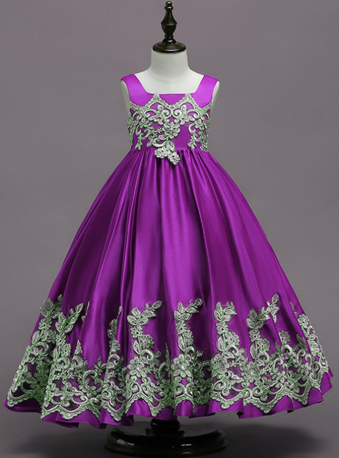 In Stock:Ship in 48 Hours Purple Satin Straps Appliques Flower Girl Dress