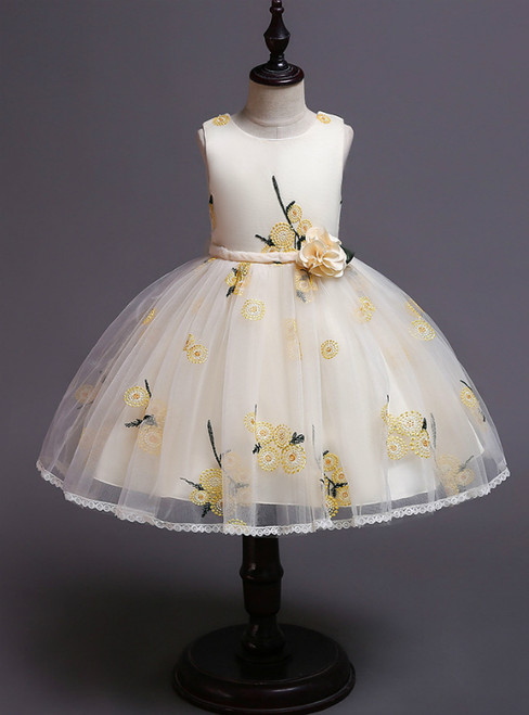 In Stock:Ship in 48 Hours Yellow Tulle Embroidery Girl Dress With Hand Flower