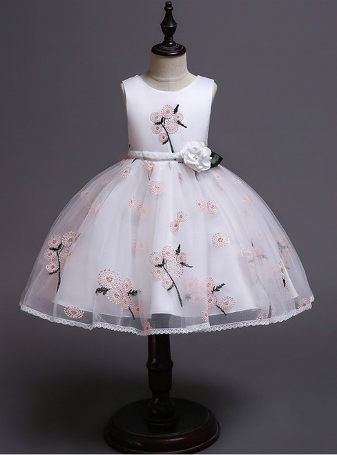 In Stock:Ship in 48 Hours White Tulle Embroidery Girl Dress With Hand Flower