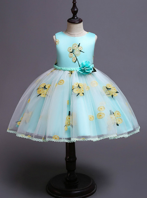 In Stock:Ship in 48 Hours Green Tulle Embroidery Girl Dress With Hand Flower