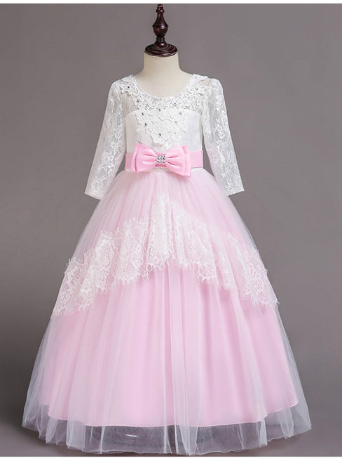 In Stock:Ship in 48 Hours Pink Tulle Lace Short Sleeve Girl Dress