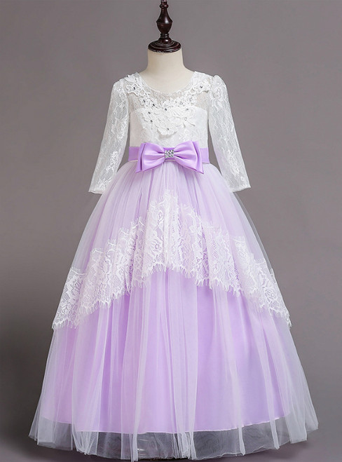 In Stock:Ship in 48 Hours Purple Tulle Lace Short Sleeve Girl Dress