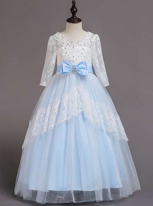 In Stock:Ship in 48 Hours Blue Tulle Lace Short Sleeve Girl Dress