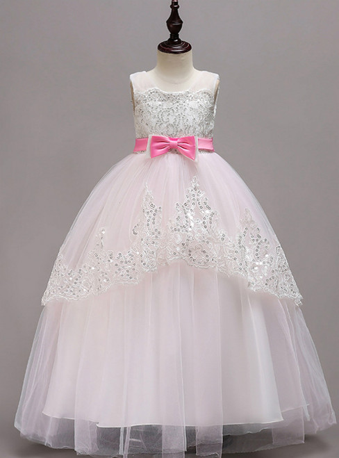 In Stock:Ship in 48 Hours Pink Tulle Sequins Long Girl Dress