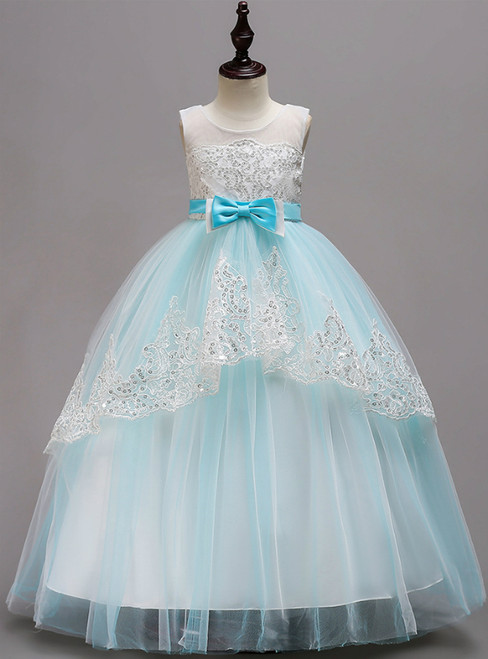 In Stock:Ship in 48 Hours Blue Tulle Sequins Long Girl Dress