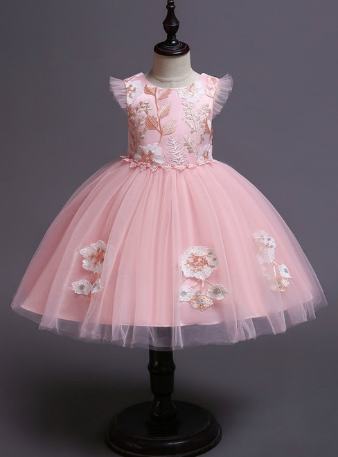 In Stock:Ship in 48 Hours Princess Pink Tulle Appliques Short Flower Girl Dress