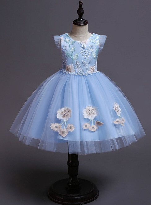 In Stock:Ship in 48 Hours Princess Blue Tulle Appliques Short Flower Girl Dress