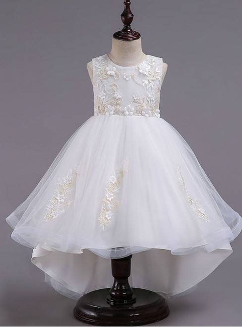 In Stock:Ship in 48 Hours White Hi Lo Appliques Flower Girl Dress
