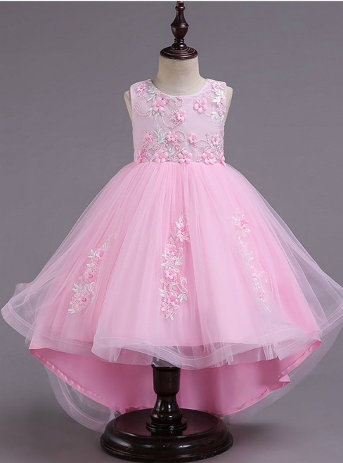 In Stock:Ship in 48 Hours Pink Hi Lo Appliques Flower Girl Dress