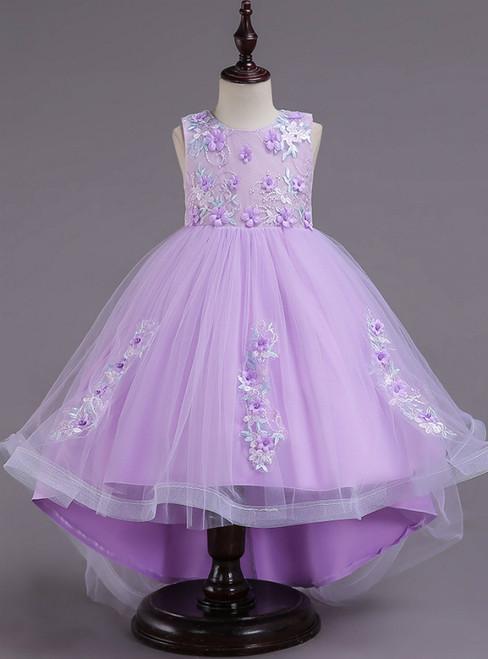 In Stock:Ship in 48 Hours Purple Hi Lo Appliques Flower Girl Dress