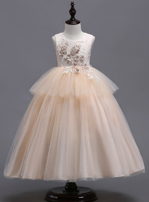 In Stock:Ship in 48 Hours Champagne Tulle Appliques Girl Princess Dress