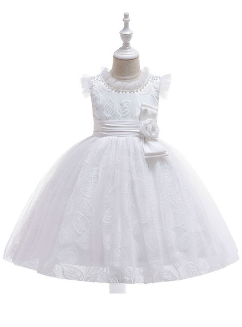 In Stock:Ship in 48 Hours White Tulle Lace Girl Dress With Pearls