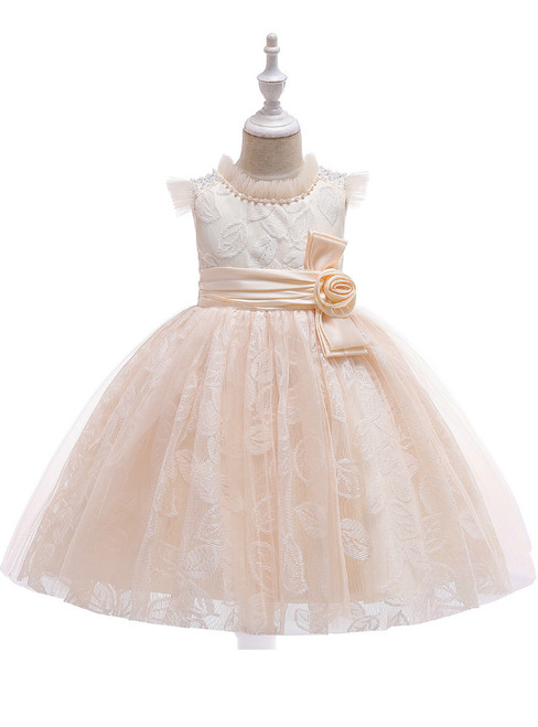 In Stock:Ship in 48 Hours Champagne Tulle Lace Girl Dress With Pearls