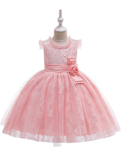 In Stock:Ship in 48 Hours Pink Tulle Lace Girl Dress With Pearls